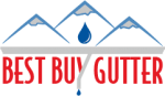 Best Buy Gutter Company Logo of Mountains Rain Drop gutter line and the words Best Buy gutter