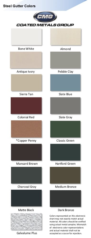 Best Buy gutter color chart from CMG gutter products