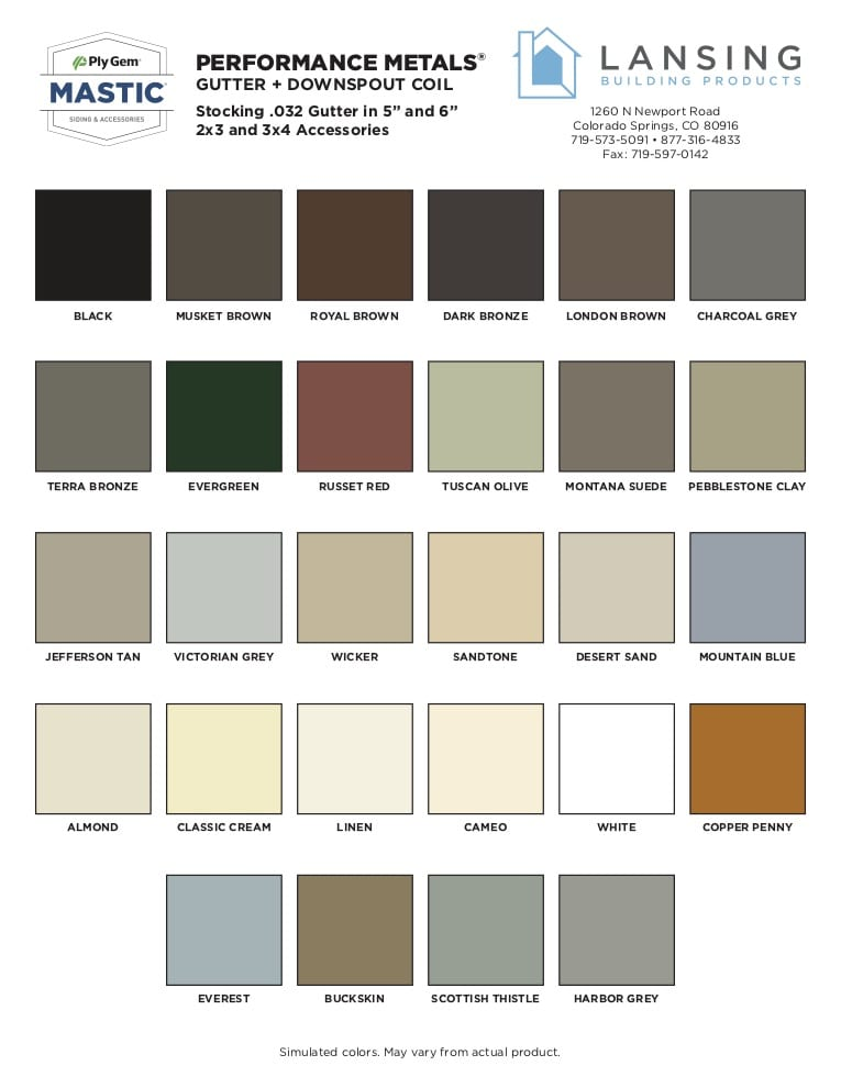 Best Buy gutter color chart from Lansing Mastic gutter products